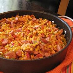 "Fried Corn with Smoked Sausage | ""Used mild Italian sausage (cooked first). Came out super yummy. Even as I finished my plate and was very full I couldn't stop thinking about having more for leftovers the next day. Can't wait to make this again."""