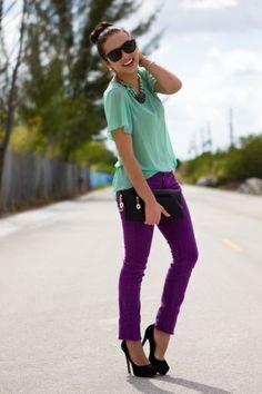 dark purple jeans with mint sheer tee, love it!