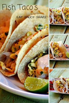 Fish Tacos with Grilled Pineapple Slaw and Chipotle Cream