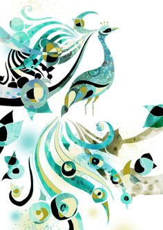 Absolutely beautiful sets of prints titled 'Peacock' by Bex Glover. Adore the swirling shapes and the turquoise colour palette. The subtle use of texture works well, making it even more eye-catching.