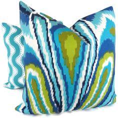 for patio: Trina Turk Peacock Designer  Indoor Outdoor Pillow by PopOColor, $75.00