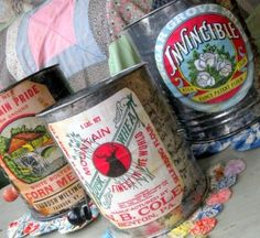 Flour Sifter Up-Cycling With Vintage Labels - could also work on cans