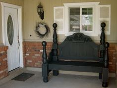 An old headboard and footboard turned into the most amazing bench ever.