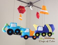 """Baby Crib Mobile - Baby Mobile - Construction Truck Mobile - Nursery Boy Mobile - """"Construction Theme""""(You can pick your colors) on Etsy, $85.00"""