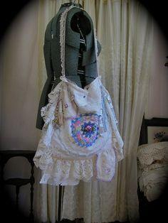Vintage Linen Bag shabby slouchy purse handmade romantic by Dede of  TatteredDelicates