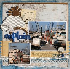 Boating travel scrapbook layout