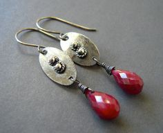 Genuine Ruby Earrings Red EarringsHand Forged by jewelqueen, $30.00