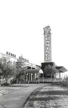 The facade of the original Las Vegas Flamingo Hotel, but with its second, modified sign (ca. 1950)