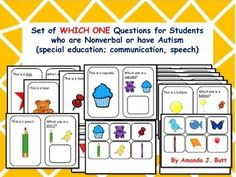 Which One Question Cards with 2 choices (picture cards) given for responding/ answering.   Autism; Special Education; Nonverbal; Communication; One on One work - Answering Which one questions. Repinned by SOS Inc. Resources pinterest.com/sostherapy/.