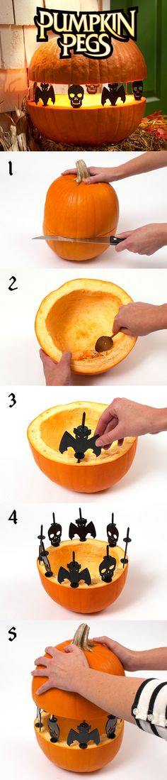 """Create """"Spook-tacular"""" silhouettes with Pumpkin Pegs™. They are reusable and fun! #halloween #DIY #plaidcrafts"""