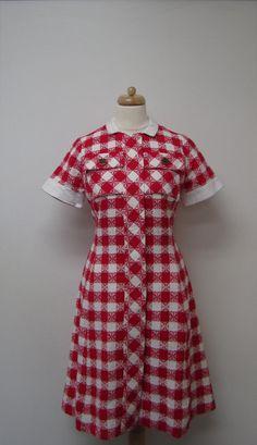 Vintage Checkered Cotton & Linen Shift Dress