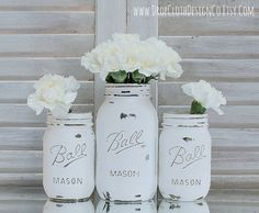 Painted Mason Jar - Chalk Paint in Pure White
