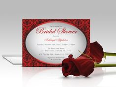 Red Damask Oval Bridal Shower Invitations