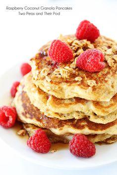 Raspberry Coconut Granola Pancake Recipe on twopeasandtheirpod.com One of our very favorite pancake recipes!