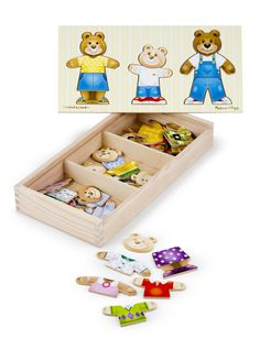 This wooden set contains 45 mix-and-match pieces to assemble Mama, Papa and Baby Bear. It's fun to change their expressions and their clothing to express their every mood. The wooden box has compartments for easy storage and the box lid conveniently serves as a puzzle board. Great for story telling fun!