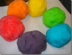 Homemade play dough:  1 cup flour  1 cup water  1/2 cup salt  3 teaspoons Cream of Tartar  1 package Kool-Aid Mix OR Jell-o Mix (any flavor of unsweetened)  1 tablespoon cooking oil    Directions:    Mix dry ingredients together in a large saucepan. Slowly add water mixed with oil and stir over medium heat until mixture thickens to dough. Place on a heatproof service and knead until cool enough for children to handle. Dough will be the color of the Kool-Aid mix and will smell like the Kool-Aid mix. hi...