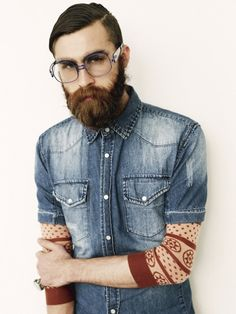 beards, hipster, fashion, style, denim shirts, jeans, glass, men, man