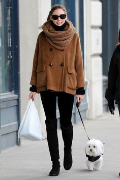 Olivia: chic & warm camel, infinity scarfs, knee high boots, winter style, fashion beauty, street styles, olivia palermo, dog, coat