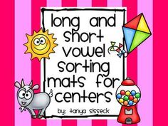This product is great for literacy centers!  It helps early learners and beginning writers determine the difference between the long vowel and short vowel sounds.  This product contains a sorting mat for each short vowel and each long vowel.  Each vowel has 5 corresponding  picture cards.    Simply print on card stock, cut out, and allow students to sort them on the mats!!