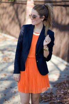 Pleated dress and blazer