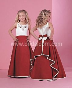 White And Red  Customer Made Design Embroider Dress For Flower Girl