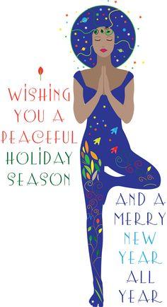 Christmas Tree Yoga Card by WalkingSatellite on Etsy