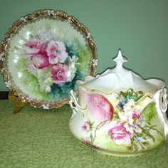 RS Prussia biscuit jar and plate