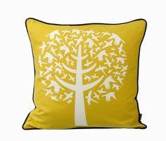 Ferm Living Shop — Bird Leaves (Yellow) Pillow