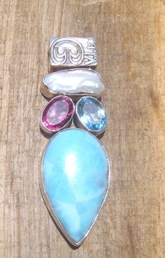 Larimar, Pink Topaz, Blue Topaz, and White Fresh Water Pearl Pendant  Limited edition, only on @Etsy #saintjohn #pendant #larimar #usvi