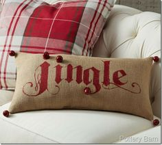 Pottery Barn Lumbar Jingle Pillow--knockoff tutorial  From Confessions of a Plate Addict