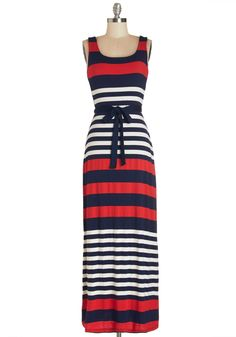 Cheers on the Cape Dress. Its Fourth of July on the cape, and youre wearing this sleeveless red, navy, and white striped maxi to cheer on your friends competing in the annual sailboat race! #multi #modcloth
