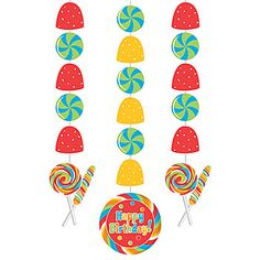 More  #Sugar Buzz Danglers! These feature a strand of three danglers complete with red and yellow gumdrops and silver lollipops.