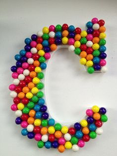"""Gumball Rainbow Birthday Party Decoration Letter """"C"""" (9 inches tall) on Etsy, $7.00"""