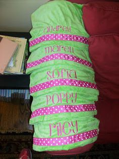 Monogrammed Pillowcases for sleepover party favors: