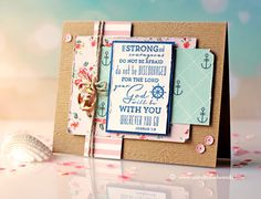 Found on Pinterest - Ocean Melody by Webster's Pages - Scrapbook.com - Distress and turn down the corners of layered patterned paper for a handmade card.