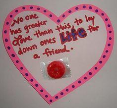 Bible verse valentines....cute Sunday school craft