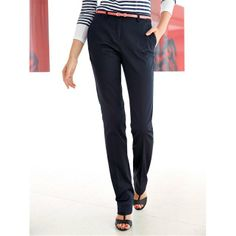 Straight-Cut Stretch Cotton Satin Trousers