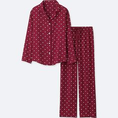 WOMEN RAYON PRINTED LONG-SLEEVE PAJAMAS, RED