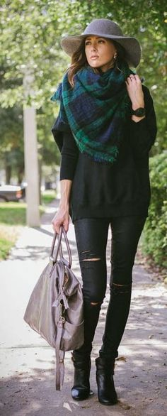 Black + green plaid scarf.