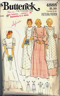 1970s Wedding Dress Pinafore Butterick 4888 by VintagePatternsCo1, $20.99