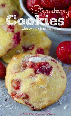 Strawberry Cookies With White Chocolate Chunks - OMGChocolateDesserts.com