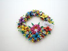 origami flower wreath