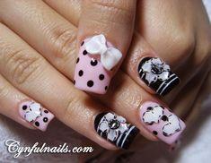 Acrylic nails polka dots, nail art designs, acrylics, bow nails, black nails, nail arts, nail ideas, 3d nails, acrylic nail designs