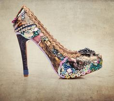 Collage Art sparkling prom and party shoes