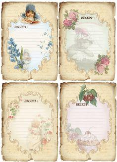 JanetK.Design Free digital vintage stuff: Receptenkaartjes