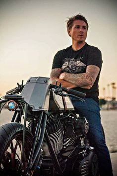 """World-renowned motorcycle builder Roland Sands astride his latest custom, """"Track Chief"""". It's a vintage boardtracker-style machine with titanium bodywork and 111 cubic inches of Thunder Stroke v-twin power. Click through to see more images and the story behind the build: http://www.bikeexif.com/indian-chieftain"""