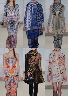 Temperley London A/W 2014/15-Mosaic Patterns - Rococo motifs - Art Déco Inspired Prints - Applique and Embroidered Looks - Art Nouveau Florals - Mirrored Decorations & Mosaic Fragments – Border Print Statements – Historic Decoration