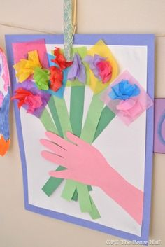 Paper flower bouquet: Mother's Day craft for kids - let your kids help to send a bouquet of flowers to your sponsored child's mom