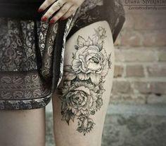 tattoo ideas, thigh tattoos, rose tattoos, leg tattoos, flower tattoos