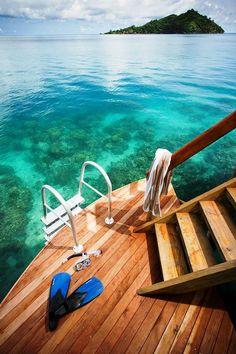 Over-Water Bure Deck, Likuliku Lagoon Resort, Fiji